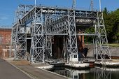 stock photo of hydraulics  - Old hydraulic boat lifts and historic Canal du Centre Belgium Unesco Heritage  - JPG