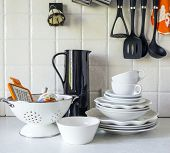 picture of ladle  - tableware in the kitchen interior - JPG
