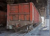 foto of stagnation  - Train under loading of coal at a coal mine - JPG
