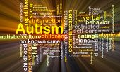 stock photo of autism  - Background concept wordcloud illustration of autism glowing light - JPG