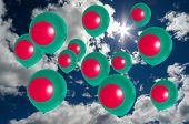 picture of bangladesh  - many ballons in colors of bangladesh flag flying on sky - JPG