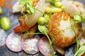 image of piglet  - Piglet sauteed with scallops and prawns - JPG