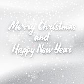 picture of merry christmas text  - White Merry Christmas and Happy New Year text on a white snowy background light winter  illustration template for banner or invitation card design - JPG