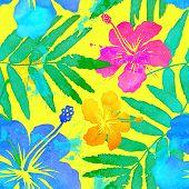 stock photo of vivid  - Vivid colors bright tropical flowers watercolor vector seamless pattern - JPG