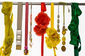 foto of obsidian  - Set of woman belts and flower made of silk and satin dangle - JPG