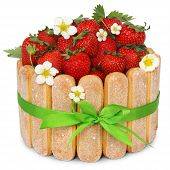 pic of sponge-cake  - strawberry sponge cake with fresh fruits decoration isoleted on white background - JPG