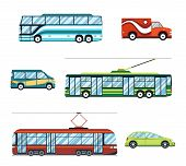 picture of trolley  - City transport flat icons set - JPG