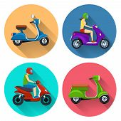 pic of transportation icons  - Scooter transport flat icons set - JPG