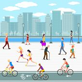 stock photo of stroll  - Group of people on promenade on city river street - JPG