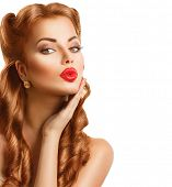 pic of  lips  - Retro woman with Red Hair - JPG