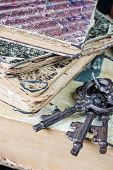 image of hardcover book  - Vintage metal keys and the old books covered with shabby hardcover - JPG
