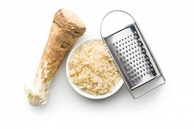 picture of grated radish  - grated horseradish root on white background - JPG