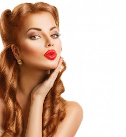 stock photo of lip  - Retro woman with Red Hair - JPG