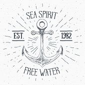Hand Drawn Sketched Anchor, Textured Grunge Vintage Anchor Label, Retro Badge Or T-shirt Typography poster