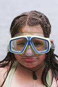 foto of dorky  - girl with diving mask on looking like a right plonker - JPG