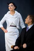 image of semi-formal  - Portrait of young couple dressed in elegant clothes - JPG