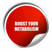 boost your metabolism, 3D rendering, red sticker with white text poster