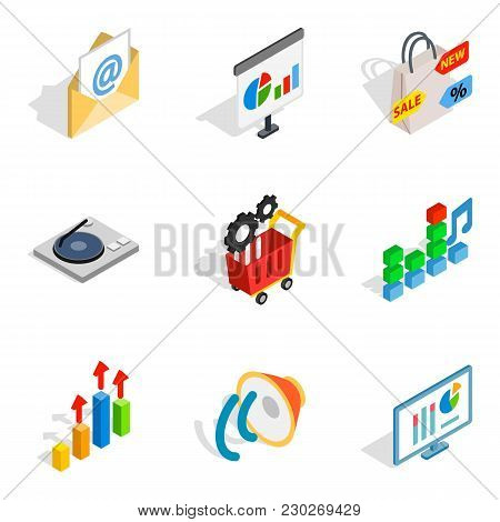 poster of Seo Web Icons Set. Isometric Set Of 9 Seo Web Vector Icons For Web Isolated On White Background