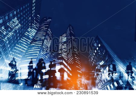 poster of Silhouettes Of People Walking In The Street Near Skyscrapers And Modern Office Buildings In Paris Bu