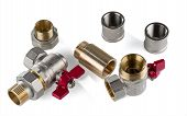 Brass Corner Ball Valves And Various Brass And Stainless Steel Sanitary Fittings Isolated On White B poster