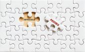 Possible And Impossible Words On Jigsaw Puzzle Background, Business Concept, Positive Thinking, Quot poster