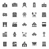Urban Buildings Vector Icons Set, Modern Solid Symbol Collection, Filled Style Pictogram Pack. Signs poster