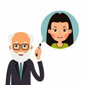 Grandfather With Phone. Elderly Man Holds Phone In Her Hand And Represents Image Of Granddaughter Wi poster