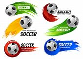 Soccer Game Sport Or Football Cup Tournament Emblems Design Templates Of Ball On Of Red, Yellow And  poster