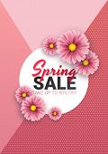 Spring Sale Floral Advertizing Poster, Board. Banner With Realistic Flowers. Vector Illustration poster