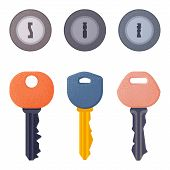 Set Of Modern Door Keys And Keyholes With Spray Scatter Effect And Grunge Texture. House Security Sa poster