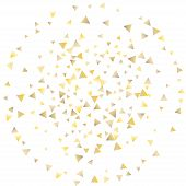 Festive Greeting Card With Gold Falling Confetti Triangles On White Background For Design Decoration poster