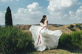 Pretty Happy Bride In Luxury Dress Outdoors poster