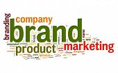 Brand concept in word tag cloud on white background poster