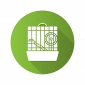 Hamster Cage Flat Design Long Shadow Glyph Icon. Rodent Wheel. Vector Silhouette Illustration poster