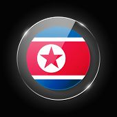 North Korea National Flag. Application Language Symbol. Country Of Manufacture Icon. Round Glossy Is poster