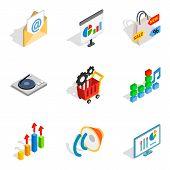 Seo Web Icons Set. Isometric Set Of 9 Seo Web Vector Icons For Web Isolated On White Background poster