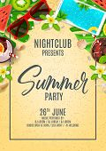 Poster Invitation For Summer Party. Top View On Summer Decoration With Fresh Cocktails And Tropical  poster