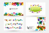 Creative Kids Design Collection. Vector Cards With Colorful Stars,  Decoration Elements. Horizontal  poster