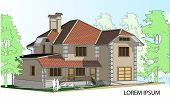 Vector Drawing Of A House In The Future. The House With A Slate Roof. Drawing Of A House. Private Ho poster