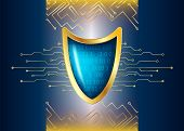 Cyber Security Antivirus Concept With Gold Blue Shield, Futuristic Lines And Numbers. Protected Web  poster