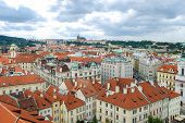 Birds Eye View Of The City Of Prague With Overcast Sky Seen From The Old Town Hall Tower, Also Know poster