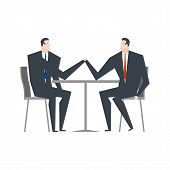 Businessman Is An Arm Wrestling. Business Competitors. Office Life poster
