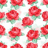 Rose Flower Hand Drawing Seamless Pattern, Vector Floral Background, Floral Embroidery Ornament. Dra poster