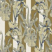 Irises Flowers Vector Seamless Pattern Flowered Background Of Botany Texture poster