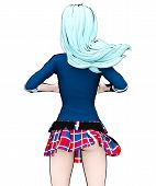 3d Sexy Anime Doll Japanese Anime Schoolgirl Big Blue Eyes And Bright Makeup. Skirt Cage. Cartoon, C poster