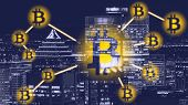 Bitcoin Sign On City - Montreal. Bitcoin And Blockchain Technology Concept.  Bitcoin Network With A  poster