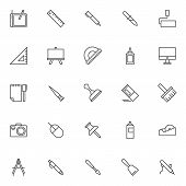 Design Elements Outline Icons Set. Linear Style Symbols Collection, Line Signs Pack. Vector Graphics poster