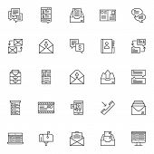 Dialogue Messages Outline Icons Set. Linear Style Symbols Collection, Line Signs Pack. Vector Graphi poster