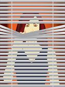 Woman behind blinds vector