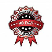 Silver Medal Money Back In 90 Days Guarantee Isolated Template Seal Icon Vector Illustration poster